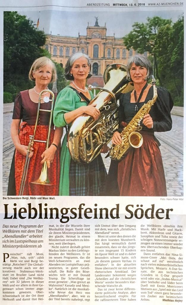 Abendzeitung v. 13.6.2018 Wellküren Kritik